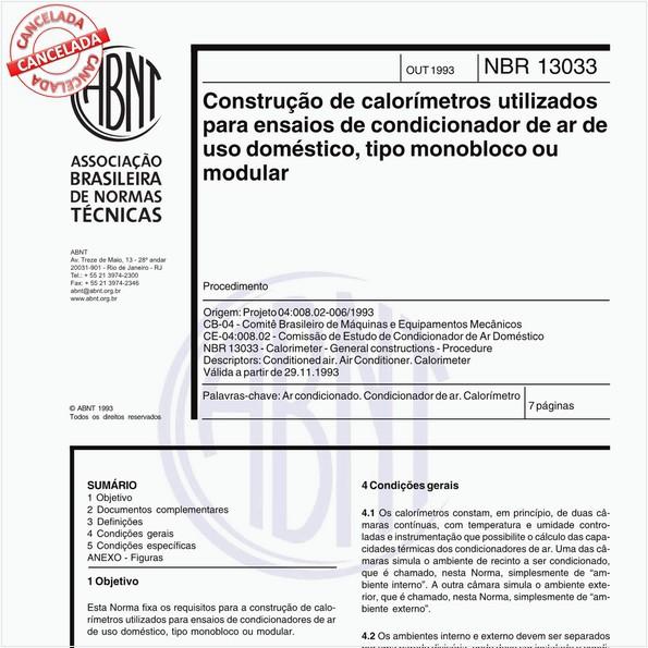 Construção de calorímetros utilizados para ensaio de condicionador de ar de uso doméstico, tipo monobloco ou modular