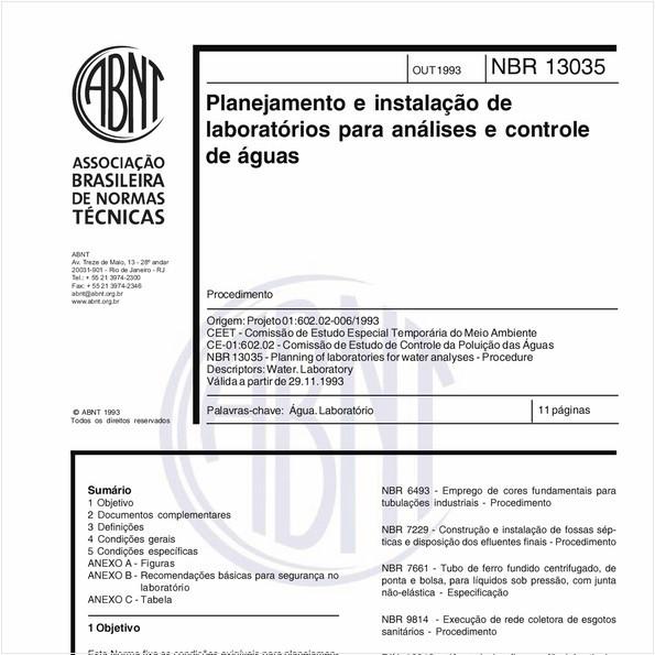 Planejamento e instalação de laboratórios para análises e controle de águas - Procedimento