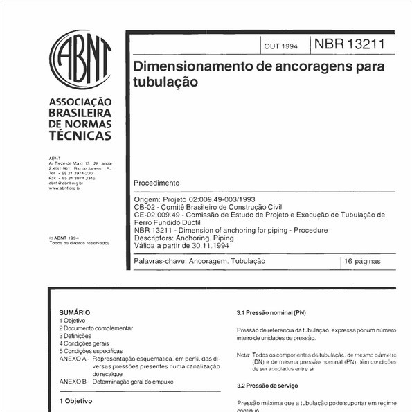 Dimensionamento de ancoragens para tubulação - Procedimento