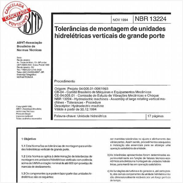 Tolerâncias de montagem de unidades hidrelétricas verticais de grande porte