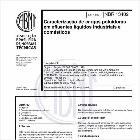 Caracterização de cargas poluidoras em efluentes líquidos industriais e domésticos - Procedimento