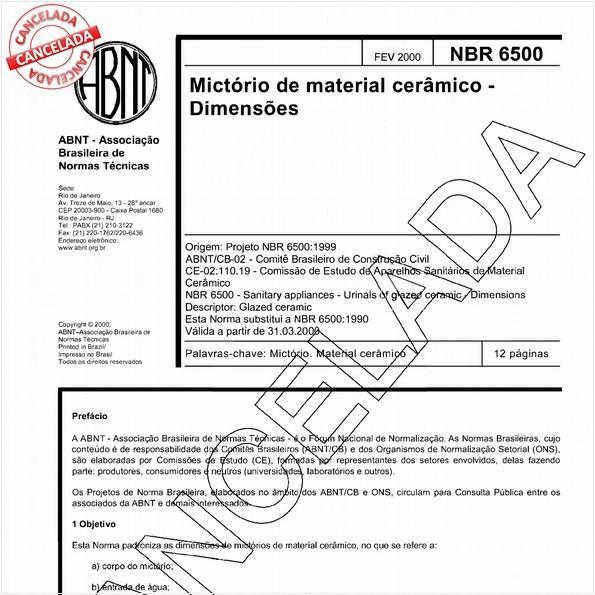 Mictórios de material cerâmico - Dimensões