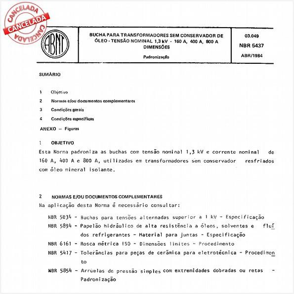 Bucha para transformadores sem conservador de óleo - Tensão nominal 1,3 kV - 160 A, 400 A e 800 A - Dimensões