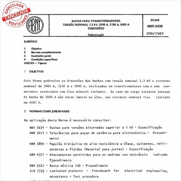 Bucha para transformadores - Tensão nominal 1,3 kV, 2000 A, 3150 A, 5000 A - Dimensões