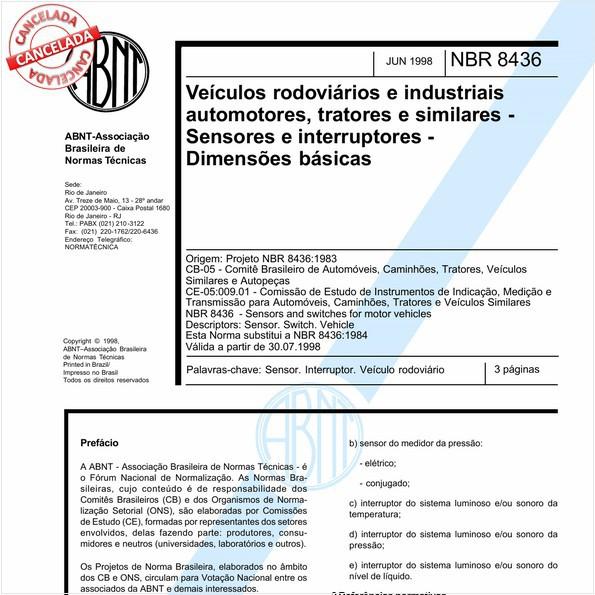 Veículos rodoviários e industriais automotores, tratores e similares - Sensores e interruptores - Dimensões básicas