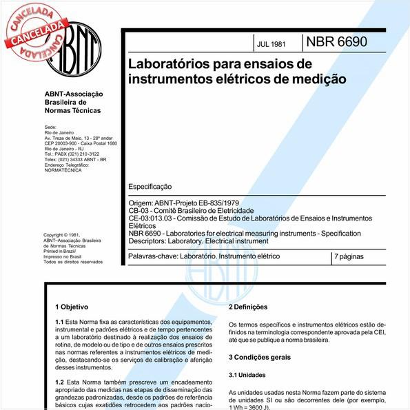 Laboratórios para ensaios de instrumentos elétricos de medição