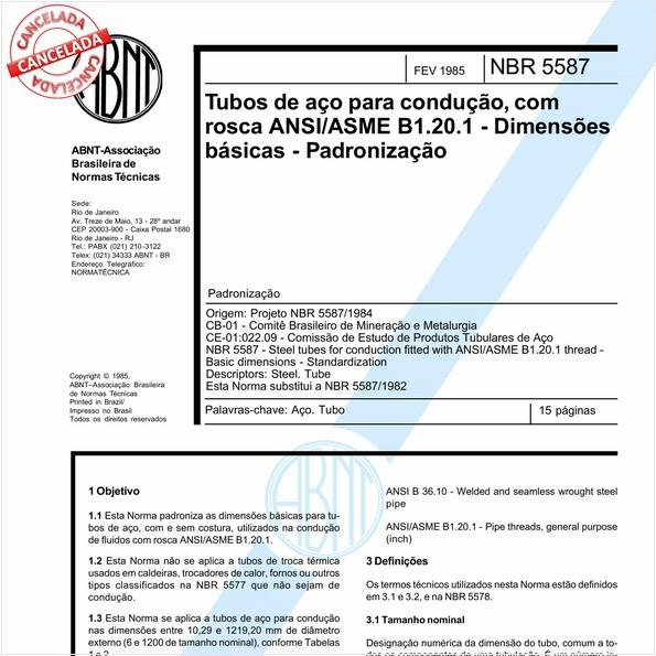 Tubos de aço para condução, com rosca ANSI/ASME B1.20.1 - Dimensões básicas - Padronização