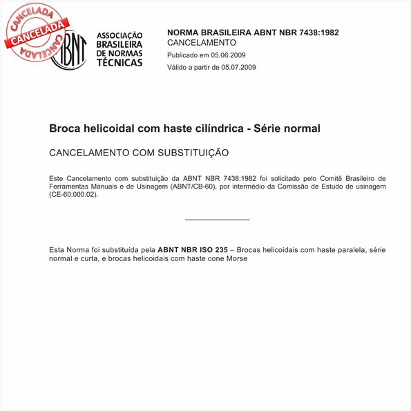 Broca helicoidal com haste cilíndrica - Série normal
