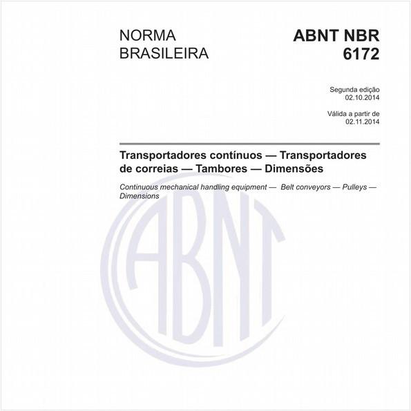 Transportadores contínuos - Transportadores de correias - Tambores - Dimensões