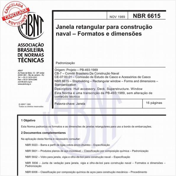 Janela retangular para construção naval - Formatos e dimensões