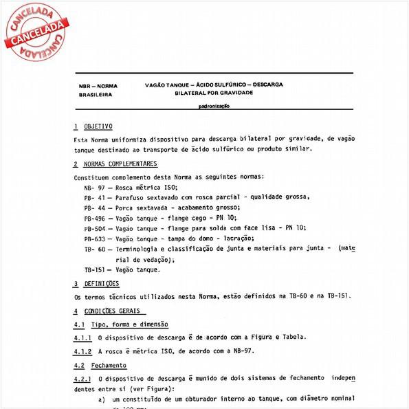 Vagão-tanque - Acido sulfúrico - Descarga bilateral por gravidade