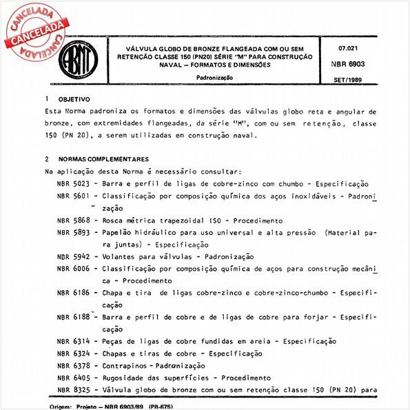 """Válvula globo de bronze flangeada com ou sem retenção classe 150 (PN 20) série """"M"""" para construção naval - Formatos e dimensões"""