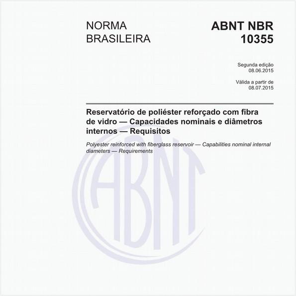 Reservatório de poliéster reforçado com fibra de vidro — Capacidades nominais e diâmetros internos — Requisitos