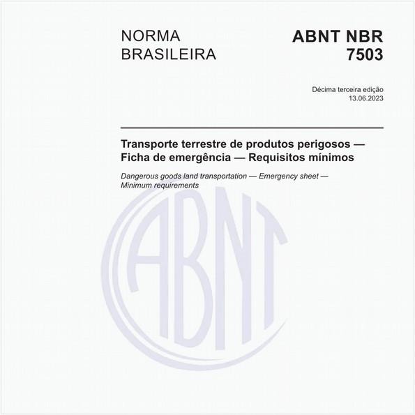Transporte terrestre de produtos perigosos - Ficha de emergência e envelope para o transporte - Características, dimensões e preenchimento
