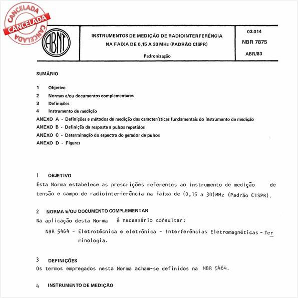 Instrumentos de medição de radiointerferência na faixa de 0,15 a 30 MHz (padrão CISPR)