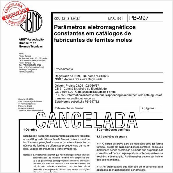 Parâmetros eletromagnéticos constantes em catálogos de fabricantes de ferrites moles