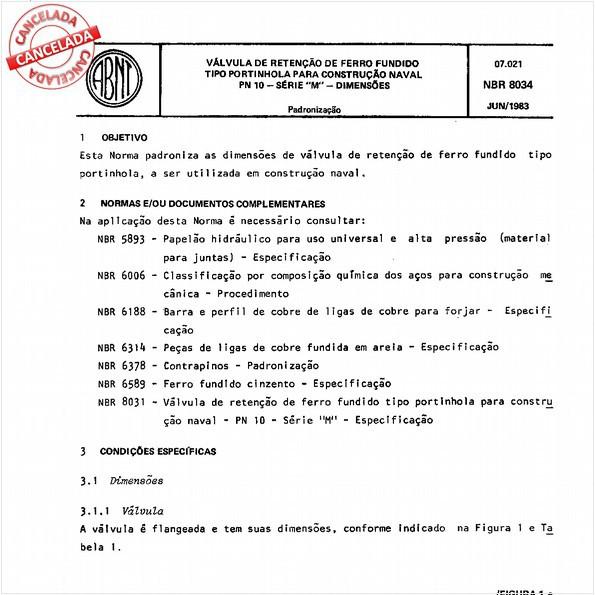 """Válvula de retenção de ferro fundido tipo portinhola para construção naval-PN-10 - Série """"M"""" - Dimensões"""