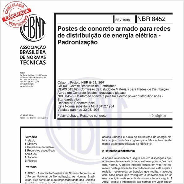 Postes de concreto armado para redes de distribuição de energia elétrica - Padronização