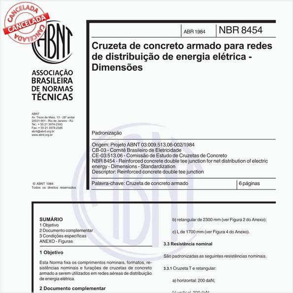 Cruzeta de concreto armado para redes de distribuição de energia elétrica - Dimensões