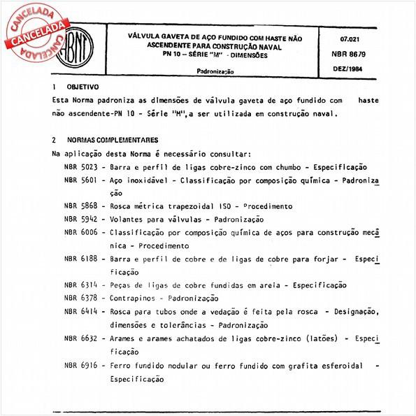 """Válvula gaveta de aço fundido com haste não ascendente para construção naval - PN-10 - Série """"M"""" - Dimensões"""