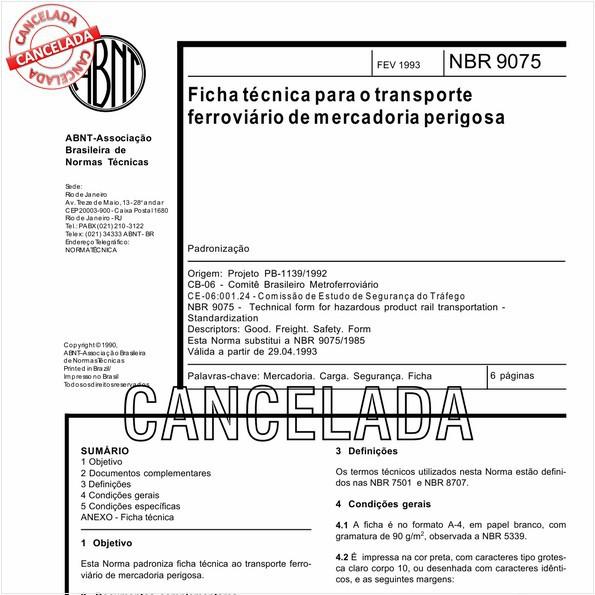 Ficha técnica para o transporte ferroviário de mercadoria perigosa