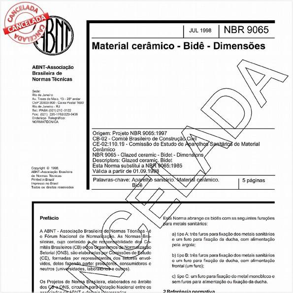Material cerâmico - Bidê - Dimensões