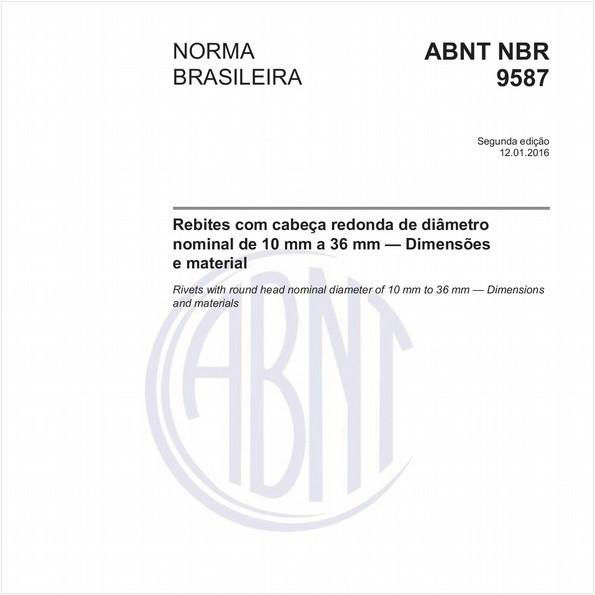 Rebites com cabeça redonda de diâmetro nominal de 10 mm a 36 mm — Dimensões e material