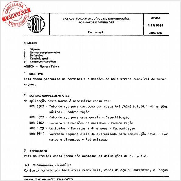 Balaustrada removível de embarcações - Formatos e dimensões