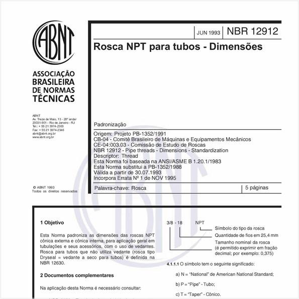 Rosca NPT para tubos - Dimensões - Padronização