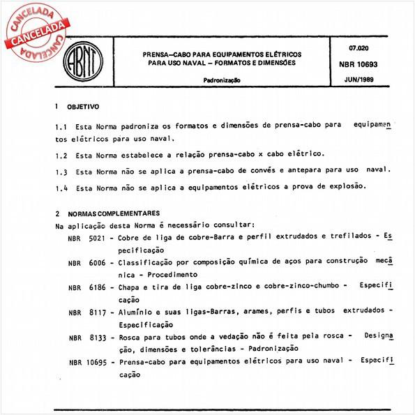 Prensa-cabo para equipamentos elétricos para uso naval - Formatos e dimensões