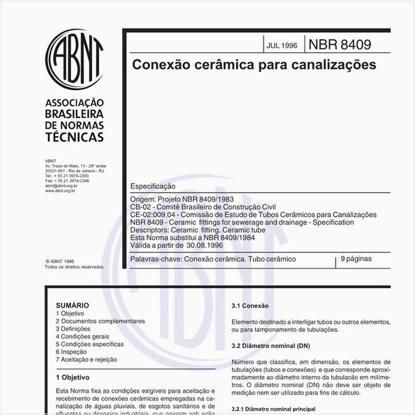 Conexão cerâmica para canalizações - Especificação