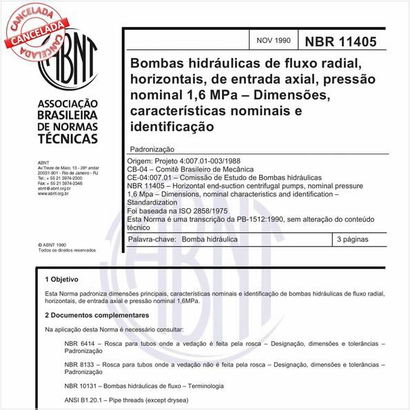 Bombas hidráulicas de fluxo radial, horizontais, de entrada axial, pressão nominal 1,6 MPa - Dimensões, características nominais e identificação