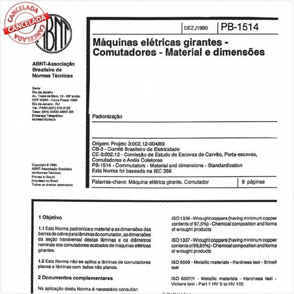 Máquinas elétricas girantes - Comutadores - Material e dimensões