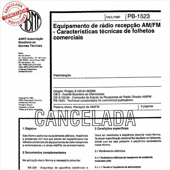 Equipamento de rádio recepção AM/FM - Características técnicas de folhetos comerciais