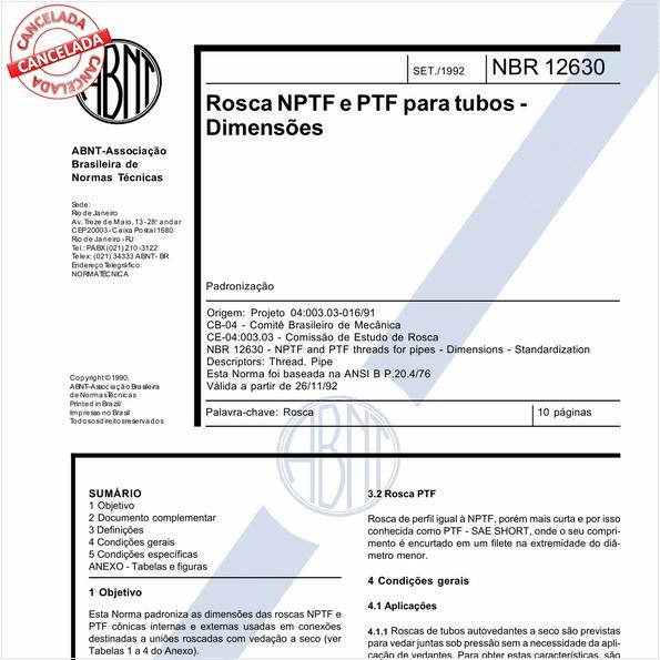 Rosca NPTF e PTF para tubos - Dimensões