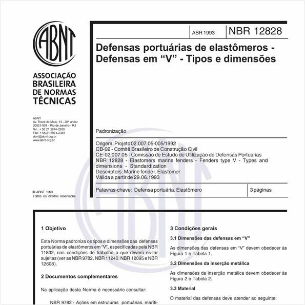 """Defensas portuárias de elastômeros - Defensas em """"V"""" - Tipos e dimensões - Padronização"""