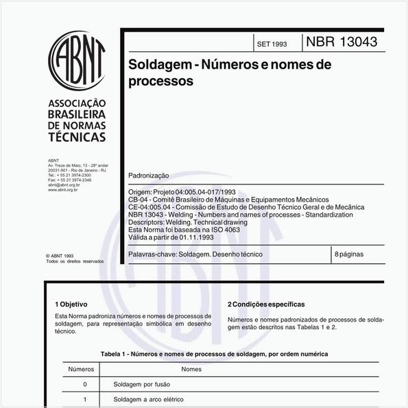 Soldagem - Números e nomes de processos - Padronização