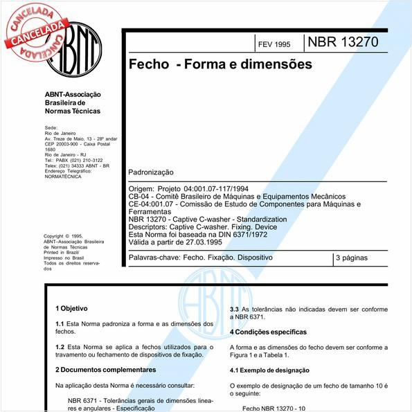 Fecho - Forma e dimensões