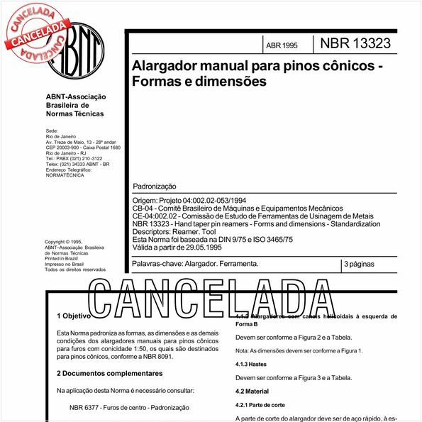 Alargador manual para pinos cônicos - Formas e dimensões