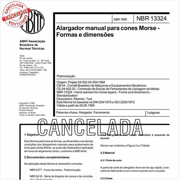 Alargador manual para cones Morse - Formas e dimensões