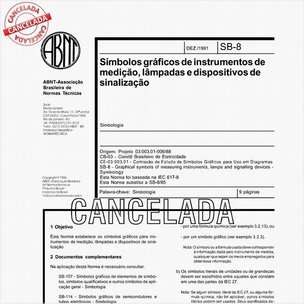 Símbolos gráficos de instrumentos de medição, lâmpadas e dispositivos de sinalização