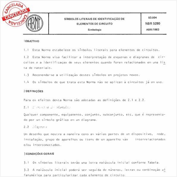 Símbolos literais de identificação de elementos de circuito