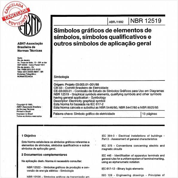 Símbolos gráficos de elementos de símbolos, símbolos qualificativos e outros símbolos de aplicação geral