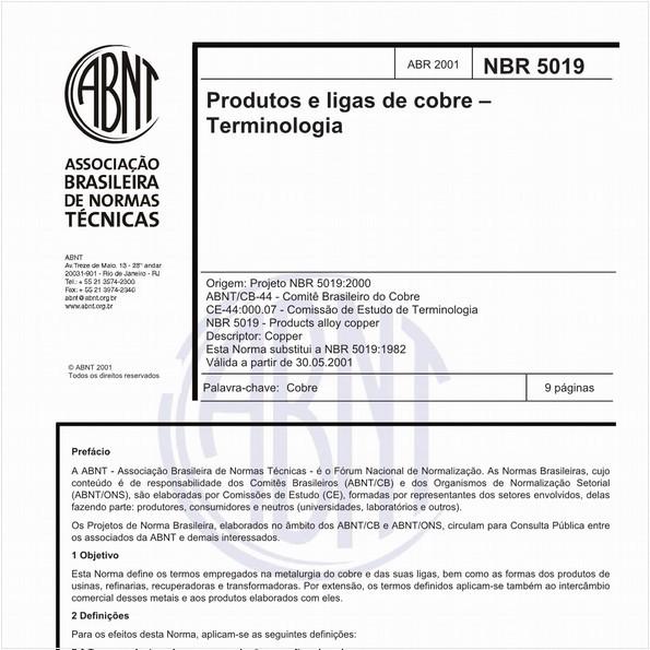Produtos e ligas de cobre - Terminologia