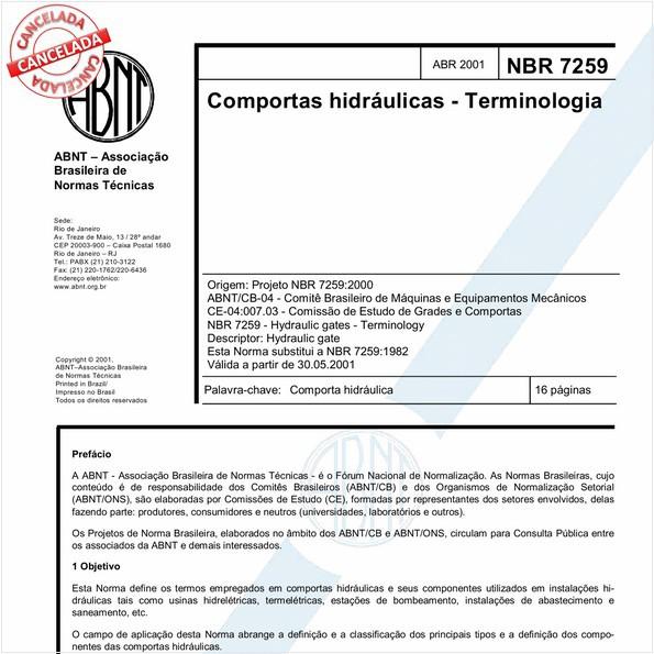 Comportas hidráulicas - Terminologia