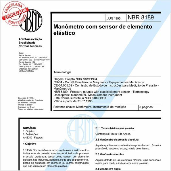 Manômetro com sensor de elemento elástico