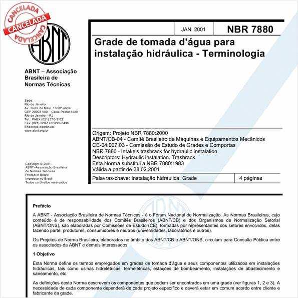 Grade de tomada d'água para instalação hidráulica - Terminologia