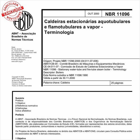 Caldeiras estacionárias aquotubulares e flamotubulares a vapor - Terminologia