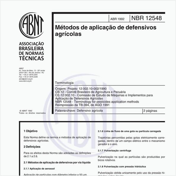 Métodos de aplicação de defensivos agrícolas - Terminologia