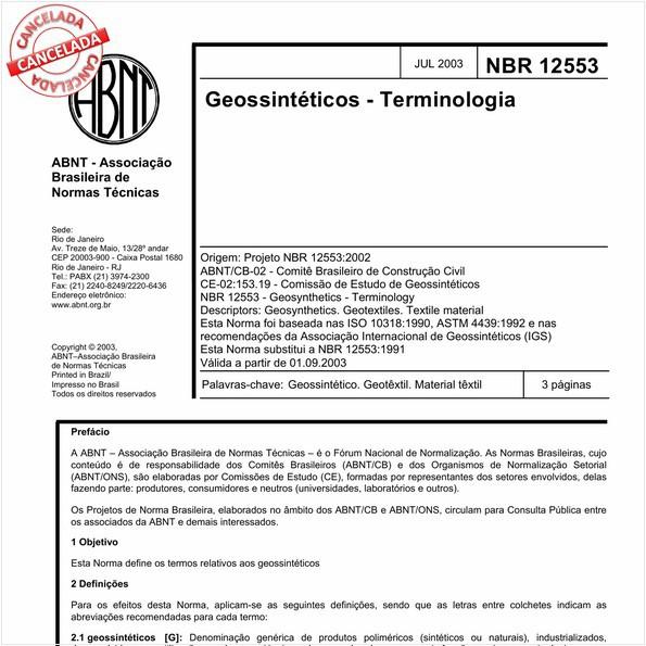 Geossintéticos - Terminologia